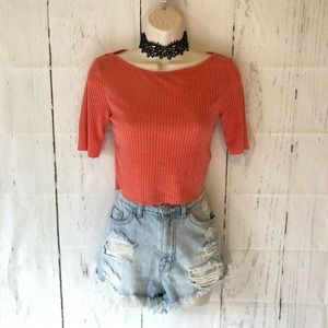 TopShop coral Ribbed Crop Top
